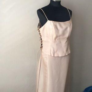 Rebecca USA light gold two-piece corset skirt XL
